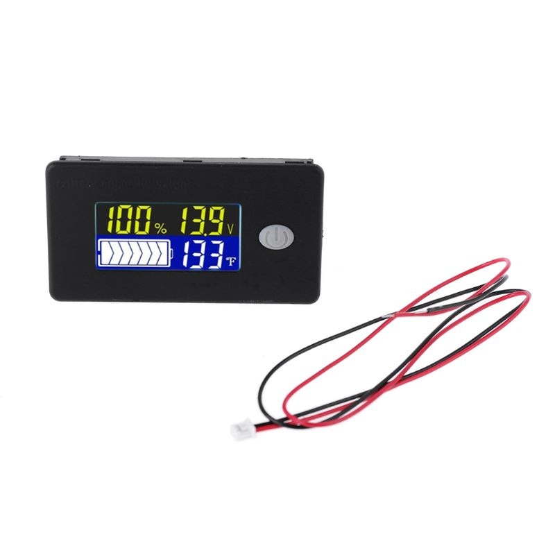 Univerisal Battery Capacity Indicator 12V 24V 36V 48V 60V 72V 10-100V Li-ion Lifepo4 Lead acid Battery Monitor with temperature