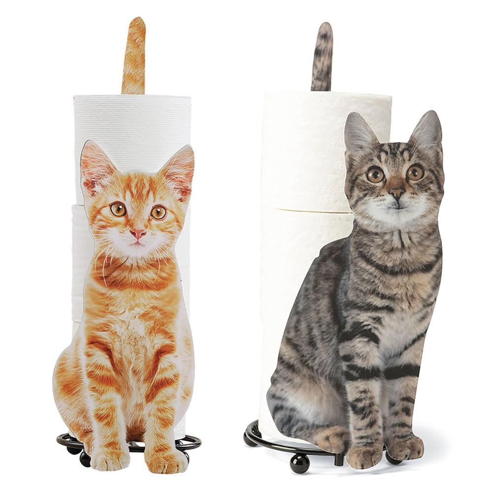 حامل مناشف على شكل قطة ، تخزين ورق التواليت ، هدية لمحبي القطط ، حامل ورق التواليت