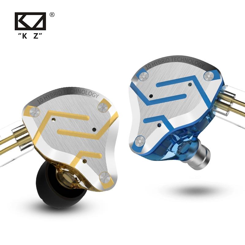 KZ ZS10 Pro Gold Kopfhörer 4BA + 1DD Hybrid 10 treiber HIFI Bass Earbuds In-Ear-Monitor Lautsprecher Noise Cancelling metall Headset