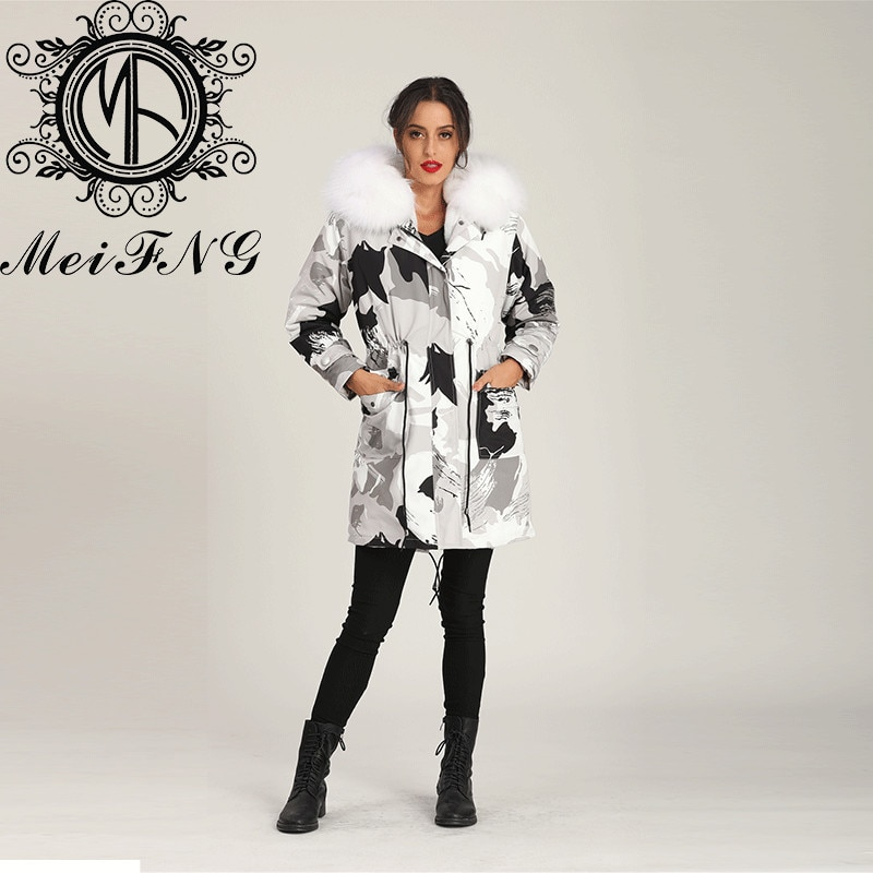 Designer Fur Grey Camouflage Coat Cool Girl Wear Winter Long Length Plus Size Promtion Price enlarge