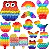 rainbow push bubble toy hot sale fidget toys sensory toy anti stress silicone children adult push bubble desktop game gifts