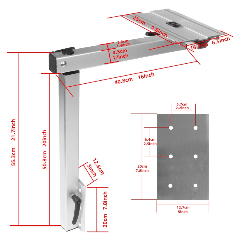 folding table leg and Height Adjustable Aluminum Alloy Motorhome Caravan Camper Table Leg enlarge