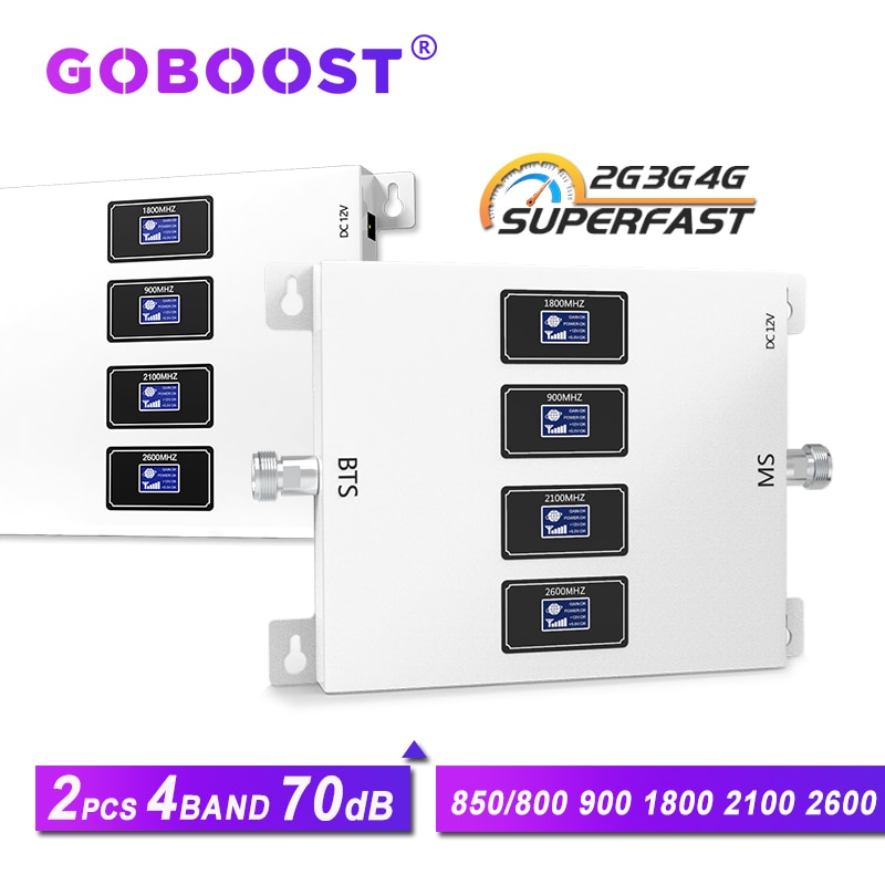 GOBOOST 2pcs repeater gsm 2g 3g 4g cellular amplifier 900 1800 2100 2600 mobile screen amplifier 4g lte 800 boost 850 3g network