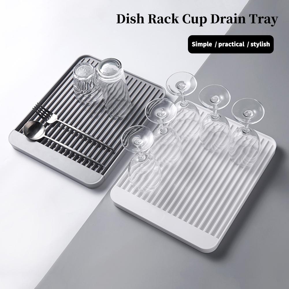 Dish Rack taza drenaje bandeja hogar taza de agua de almacenamiento bandeja de diatomeas barro Draining Board de desagüe de la cocina bandeja de almacenamiento
