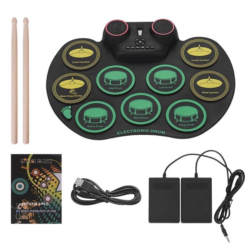ELOS-alfombrilla de tambor Digital enrolladas, juego de Batería Electrónica de silicona, práctica de 10 baquetas, altavoces dobles integrados con palos y pies de Pe
