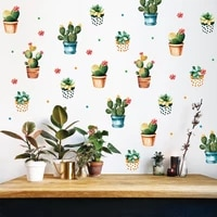 nordic succulent potted plants creative wall stickers home decoration accessories for living room decor mural cactus stickers