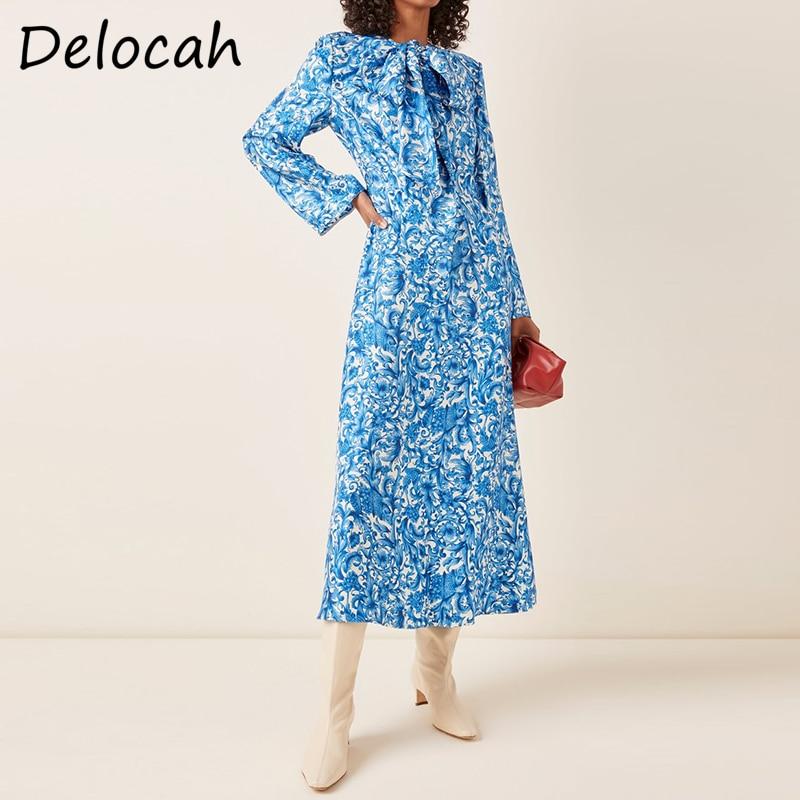 Delocah-فستان متوسط الطول بفيونكة ، مصمم أزياء نسائي ، ملابس صيفية ، خصر عالي ، نحيف ، a-line ، 2021