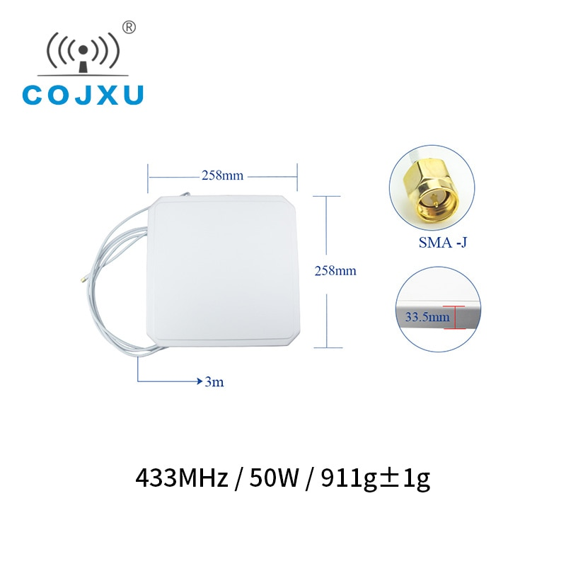 433MHz Wifi Antenna 8.0dBm High Gain SMA-J 50W Waterproof Directional TX433-PB-2626 Aerial Antena