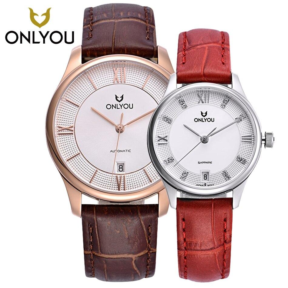 ONLYOU часы для влюбленных Авто Дата с самообмоткой аналоговые коричневые кожаные