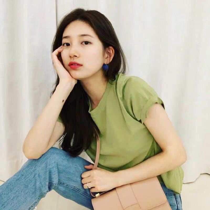 Suzy bae streetwear t camisa harajuku kawaii abacate cor camiseta femme kpop t-shirts dropship