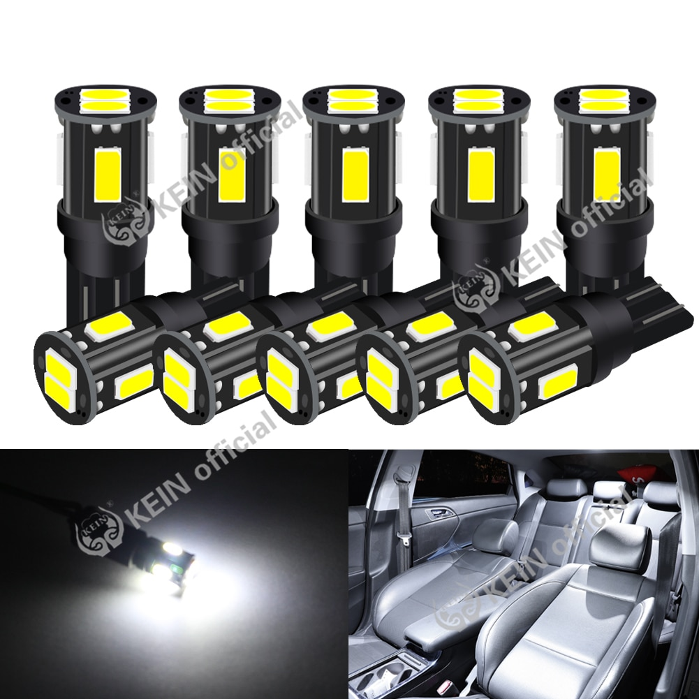10x newest t10 194 168 w5w 6smd 5730 car led silicone shell auto dome parking lights car side wedge light lamp bulb car styling KEIN 10PCS T10 LED W5W Car Interior Light 194 168 501 Auto Signal Lamp 12V 5730 6SMD Side Wedge License Plate Light Parking Bulb