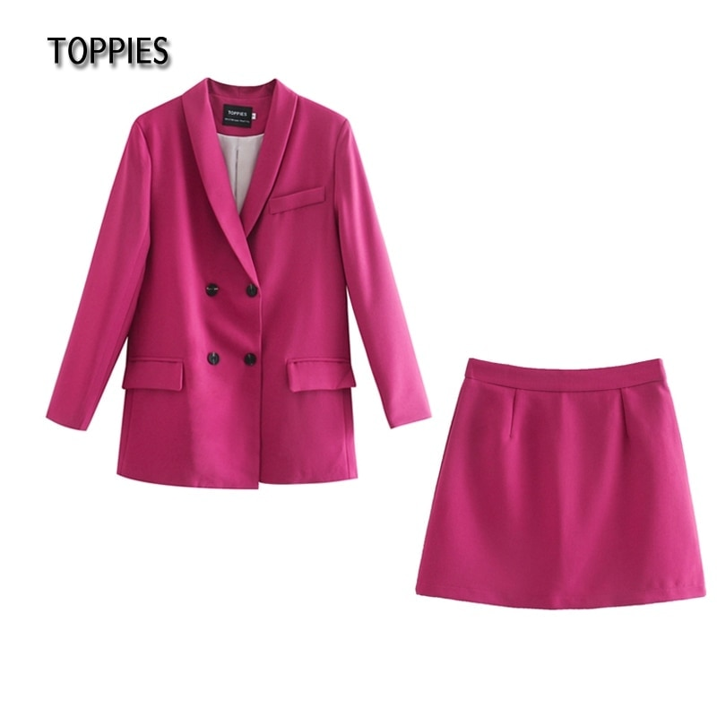 Toppies Womens blazer two piece suit set double breasted jacket blazer 2021 spring ladies formal suit