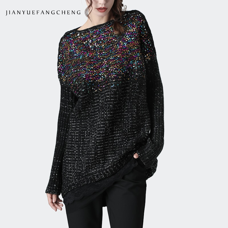 Plus Größe Frauen Pailletten Pullover Woll Gestrickte Pullover Pullover Oansatz Lose Koreanischen Stil Outwear Warme Damen Winter Pullover