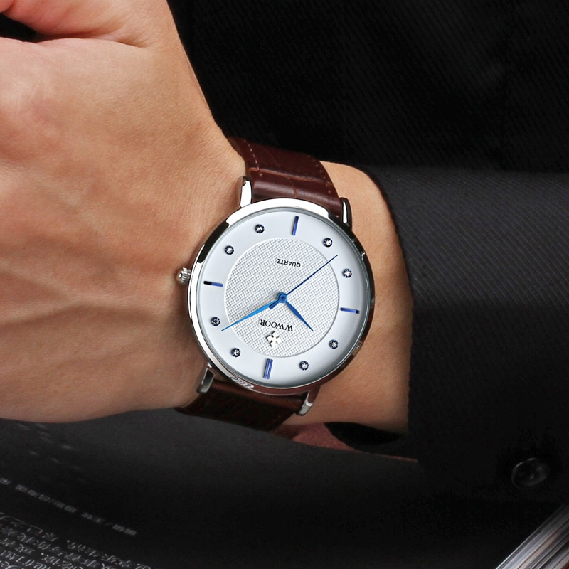 Classic Brown Genuine Leather Quartz Watch For Men WWOOR Top Luxury Brand Fashion Diamond Business Watches Mens Waterproof Clock