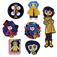 lb1624 coraline cute cartoon enamel pin movie brooches lapel pins for bag backpacks decoration badge jewelry gift accessories