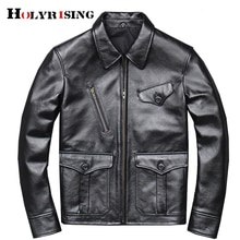 2021 men cow leather overcoats turn collar black genuine leather coat zipper pockets cowhide couro g