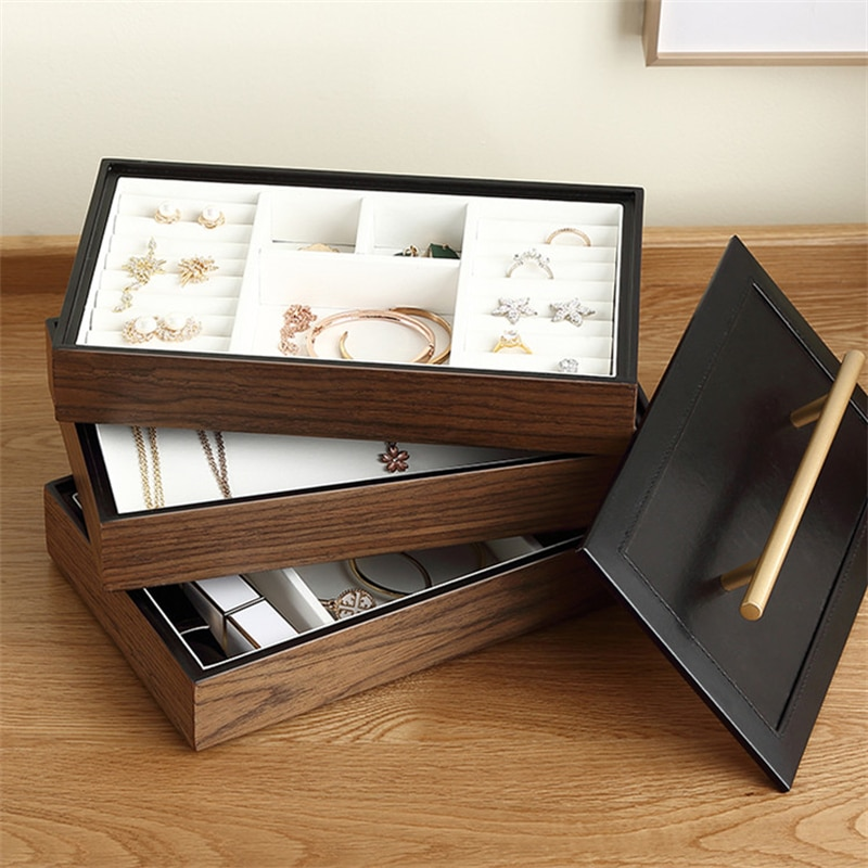 Casegrace 3-طبقات صندوق مجوهرات فاخر خشبي كبير علبة هدية منظم ل حلق حلقة حامل ساعة حامل مجوهرات صندوق تخزين