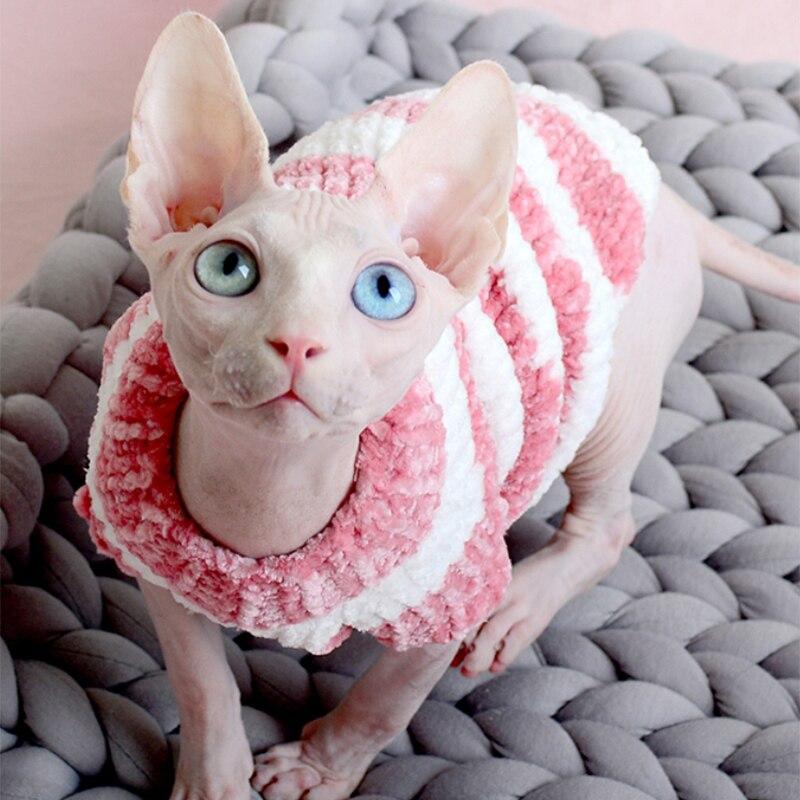 Hairless Cat Pullover Warme Katze Kleidung in Herbst und Winter Sphinx Devon Pet Handgemachte Pullover