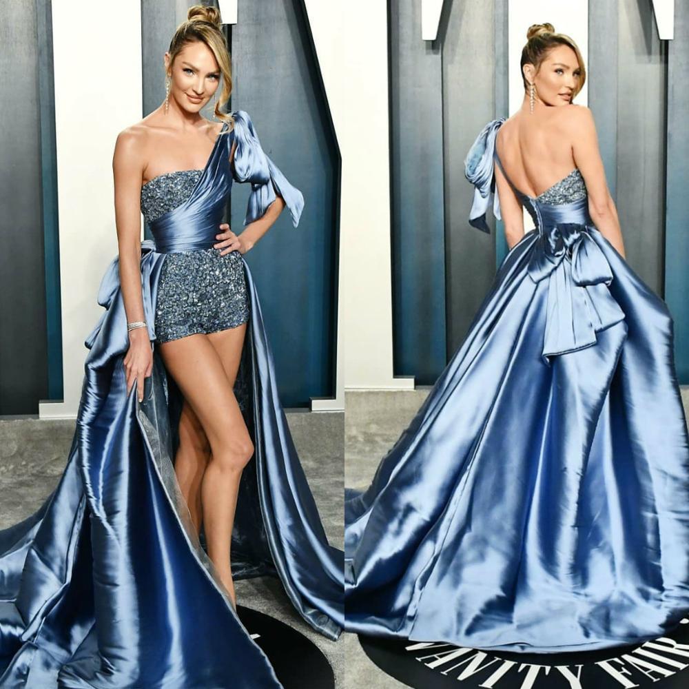 فستان سهرة غير متماثل ، كتف عاري ، لؤلؤ ، دنغري ، مجمع ، قطار ، ثوب كرة ، موضة ، مجموعة 2020