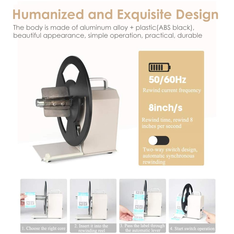 Commercial Rewinder Machine Automatic Label Tags Two-Way Label Rewind Adjustable Core Holder Price Tag Printer Bar Code Stickers enlarge