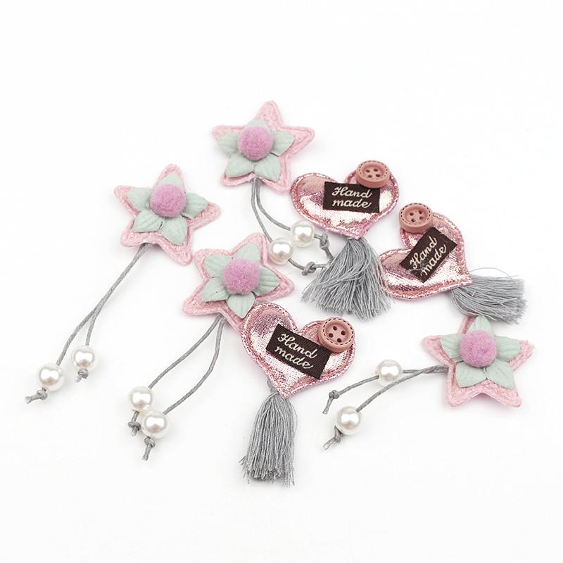 20Pcs Padded Stars/Heart Tassel Applique DIY Craft Supplies Basteln Kids Hair Accessories Earrings Clothes Sewing Decor Material