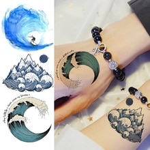 Colorful Wave Surfing Temporary Tattoos Sticker For Women Men Body Art Arm Tattoos Fake Fashion Beau