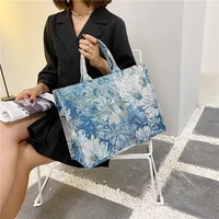 painting flower luxury brand large canvas tote 2021 summer trends womens designer handbag high capacity to handle shoulder bags