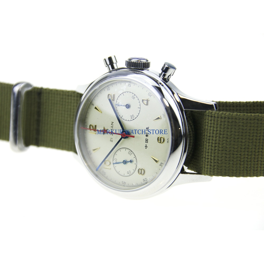 Zafiro de Estrella Roja cronógrafo mecánico para gaviota 1963 ST1901 movimiento hombre reloj de piloto Flieger B-UHR Handwinding militar