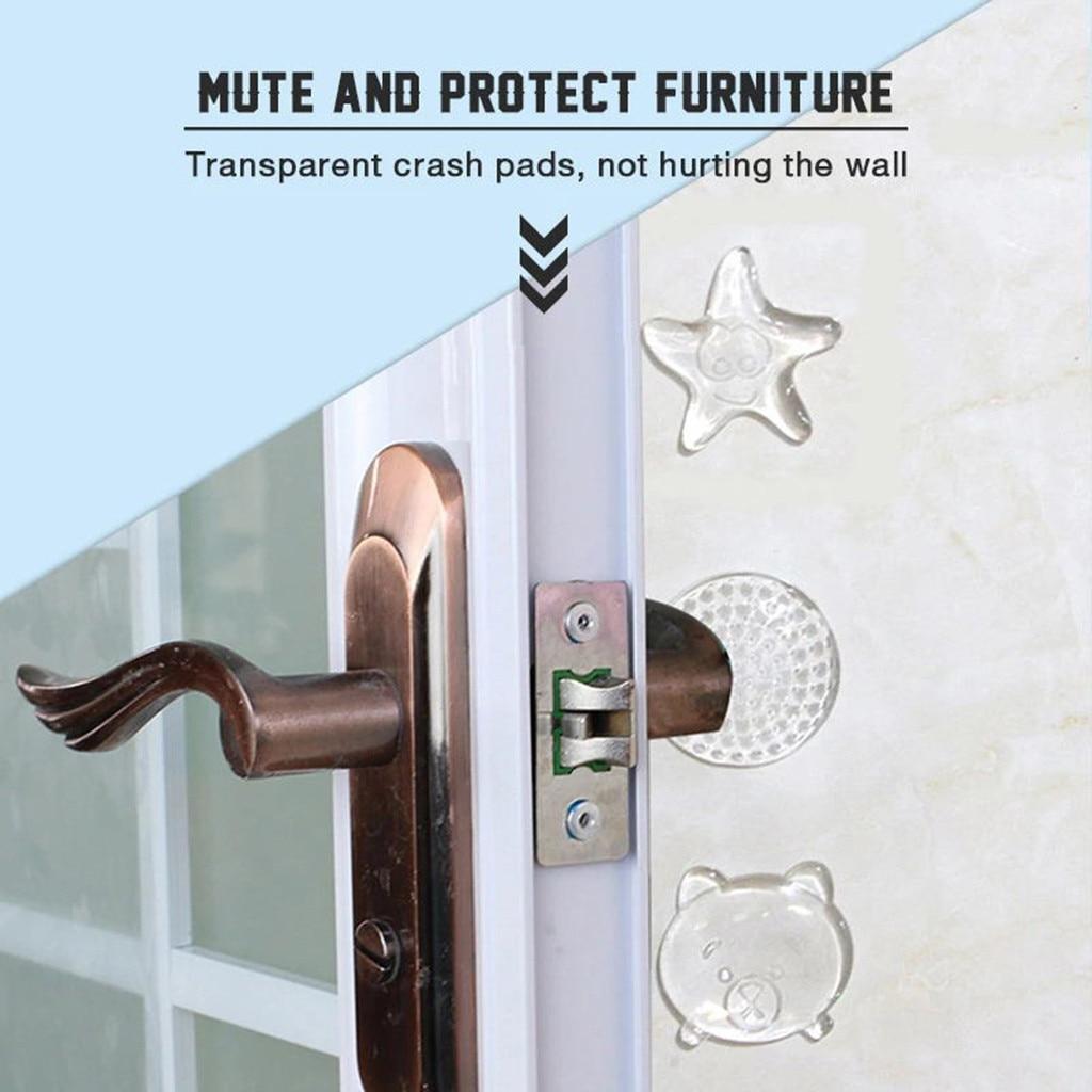 Strong Gel Rubber Door Stopper Removable Reusable Doorknob Baffle Anti-collision Silent Wall Protector Pad Door Stopping Mat