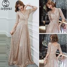 Skyyue Formal Dress V-Neck Floor-Length Half Sleeve A-Line Robe De Soiree Sequined Plus Size Zipper Dress Woman Party K004
