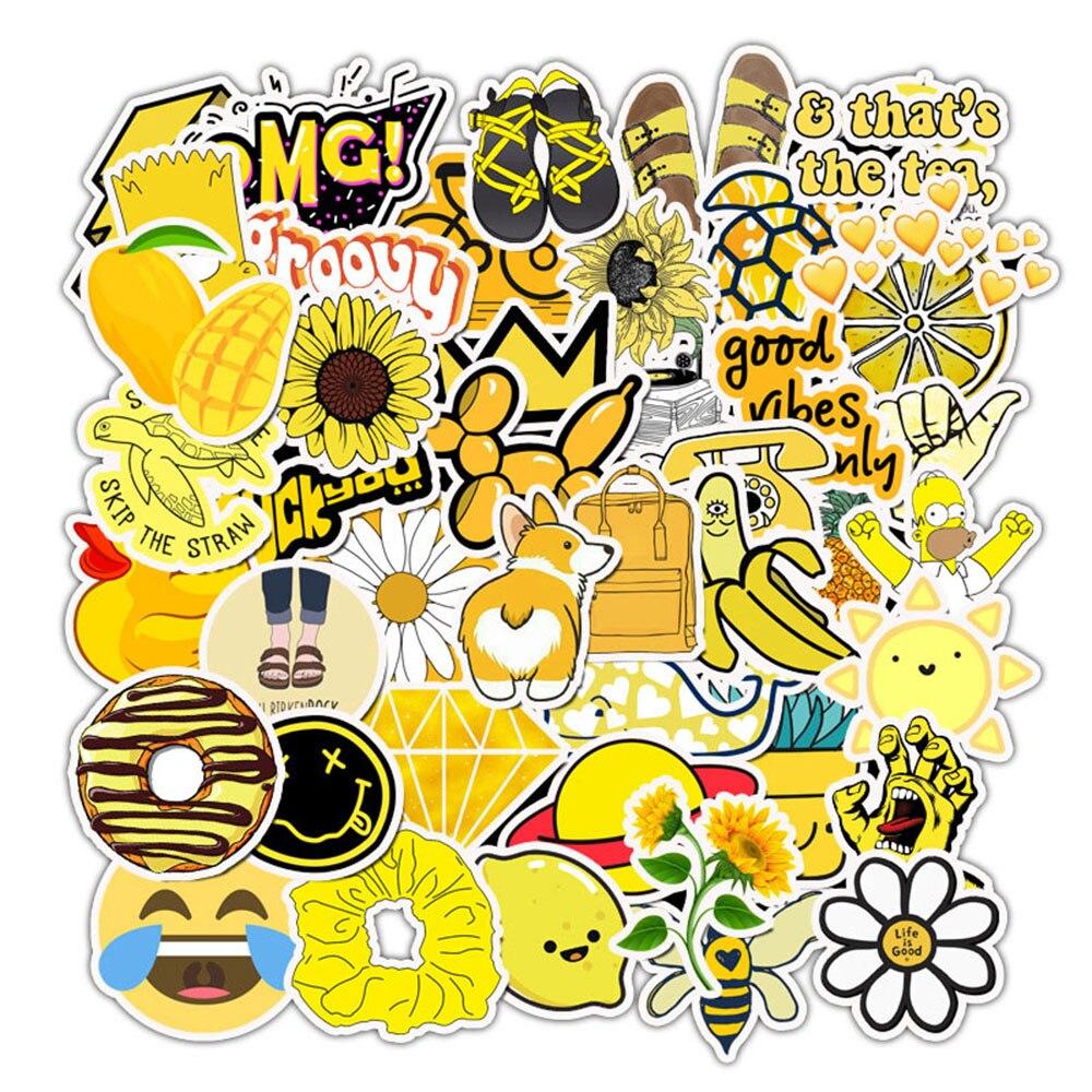 50 Uds pegatinas de ordenador amarillo de dibujos animados de moda DIY maleta portátil impermeable PVC pegatina de decoración para MacBook Notebook