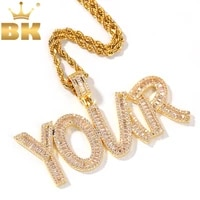 the bling king iced cubic zircon baguette initial letters pendant necklace words name with 4mm cz tennis chain jewelry