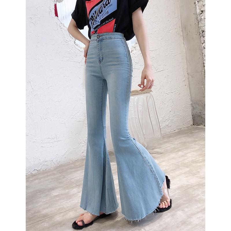 Эластичные расклешенные джинсы, женские широкие брюки с высокой талией, повседневные модные джинсы, винтажные джинсы МОМ, джинсовые брюки, ...