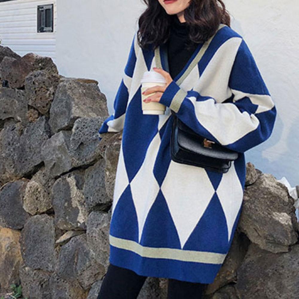 ZOTTSOZ Knitwear Jumpers Loose Women 2021 Casual Knitted Geometry Sweaters Korean Harajuku Streetwear V-Neck Pullover Outerwear