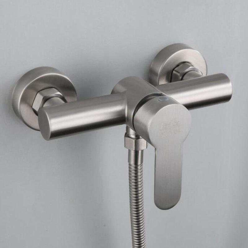 الفولاذ المقاوم للصدأ الأمطار دش صنبور مجموعة واحدة ليفر حوض الاستحمام دش صنبور الباردة الماء الساخن مزيج الحنفية يده حمام دش مجموعة