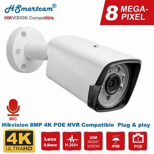 Hikvision Compatible 8MP 4K Bullet IP Camera POE Outdoor/Indoor 30m IR Security Camera With Microphone Audio Onvif H.265 IP66