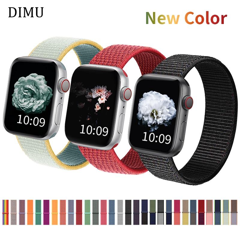 DIMU нейлон мягкий дышащий для Apple Watch серии 5/4/2/1 38 мм 42 мм сменный ремешок для iWatch спортивный ремешок 42 мм 44 мм