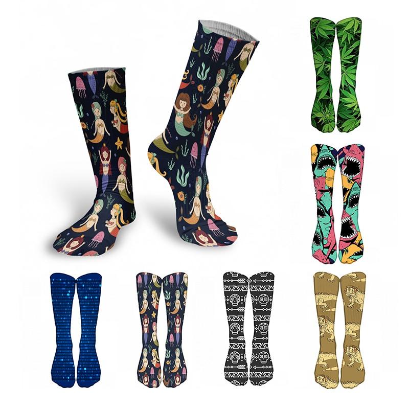 Novo 3d impresso mulheres meias longas criativo puro algodão engraçado bonito feliz inverno joelho alto esportes ciclismo quente estudante bezerro meias