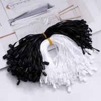 1000pcslot 193mm plastic label rope white black hang tag polyester ribbon rope rectangle snap lock lock pin loop tie fasteners