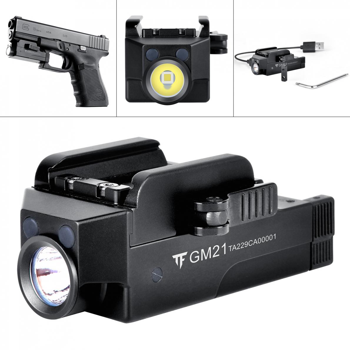Trust Fire GM21 510 Lumens IPX6 Tactical Flashlight Military Weapon Lights with Micro USB Port and Built-in Battery