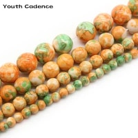 natural yellow green spotted rain flower stone beads round loose spacer bead for diy jewelry making diy 4 6 8 10 12mm bracelet