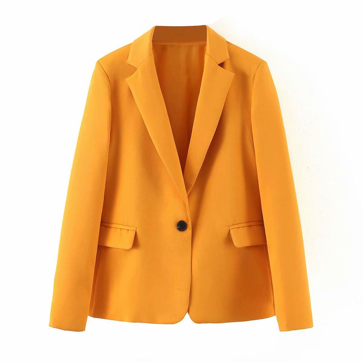 Moda mujer blazers chaqueta nuevo estilo elegante candycolor traje con un botón collar chaqueta mujer traje temperamento traje chaqueta