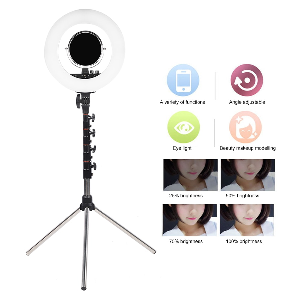 18in LED Dimmable Live Streaming Ring Light Photography Selfie Cosmetic Fill Light
