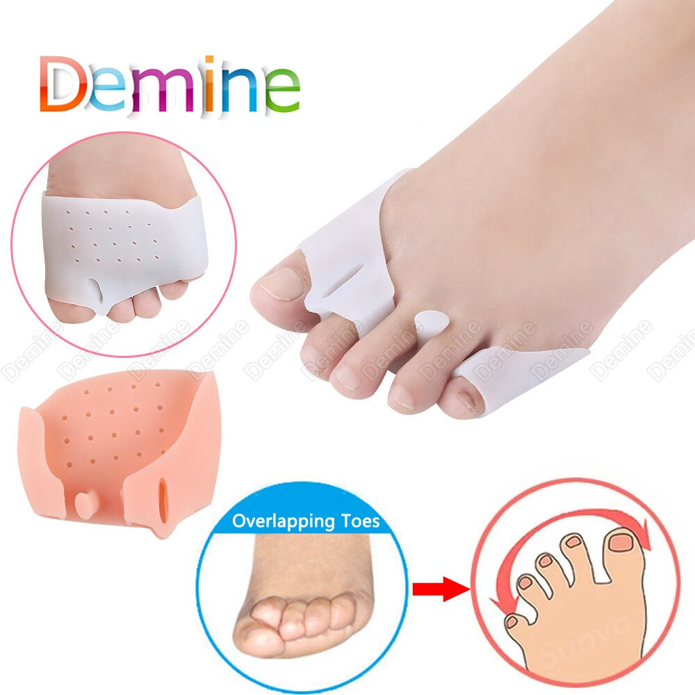 demine silicone hallux valgus orthotics insoles toe separator insole correction cushion forefoot care pad shoe cushion insert Demine Forefoot Silicone Pad for Hallux Valgus Overlapping Toe Separator Bunion Corrector Insert Foot Blisters Calluses Care Pad