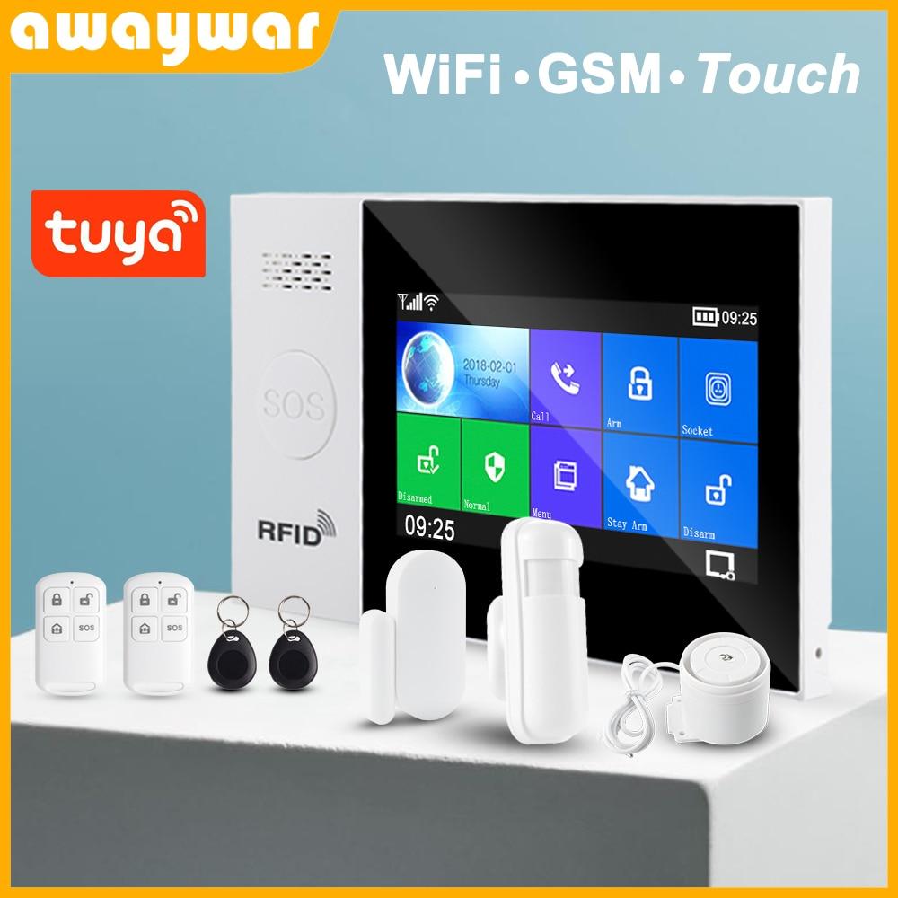 Awaywar Tuya WIFI GSM home Security smart Alarm System Burglar kit  touch screen compatible with Tuya IP Camrea