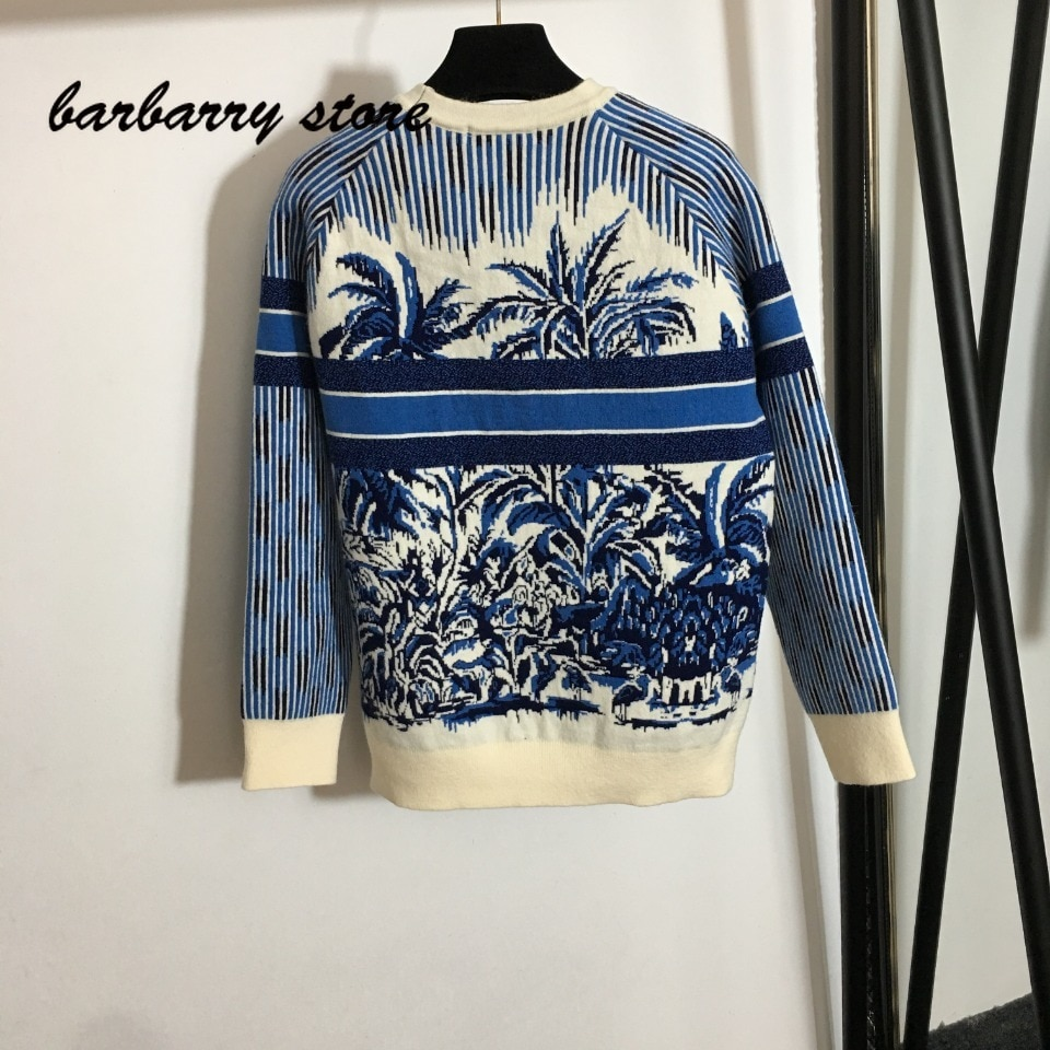 2021 luxury design coconut forest printing fashion women's long sleeve round neck Pullover temperament versatile knitted sweater enlarge