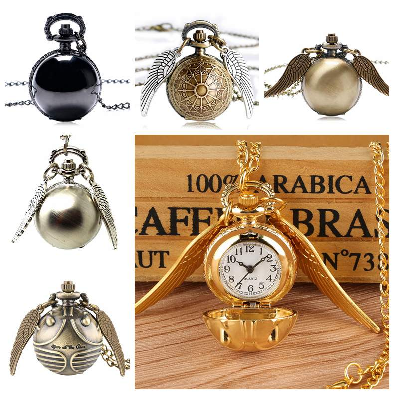 Retro Steampunk Smooth Snitch Ball Shaped Quartz Pocket Watch Fashion Sweater Angel Wings Necklace C