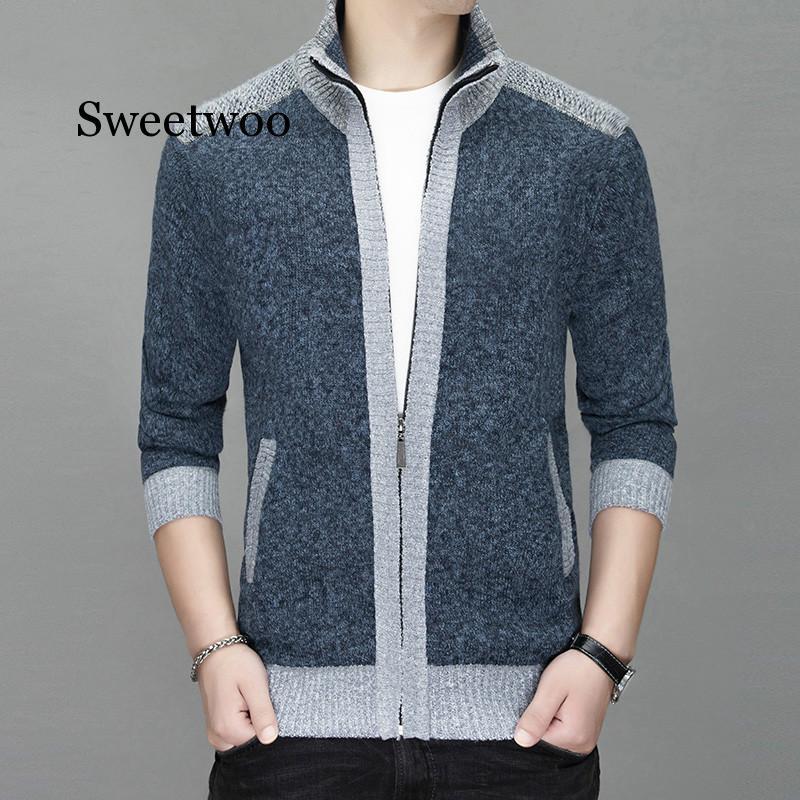 Весенние мужские свитера, кардиганы, повседневные куртки, теплый свитер с воротником-стойкой, Мужская одежда, осенне-зимнее пальто серого ц...