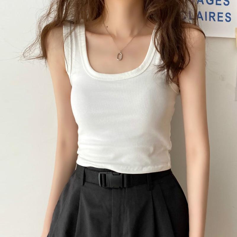 White Suspender Vest Women Wear Trendy 2021 New Summer Old Shirt Outside, Sports Wear Sleeveless Clo