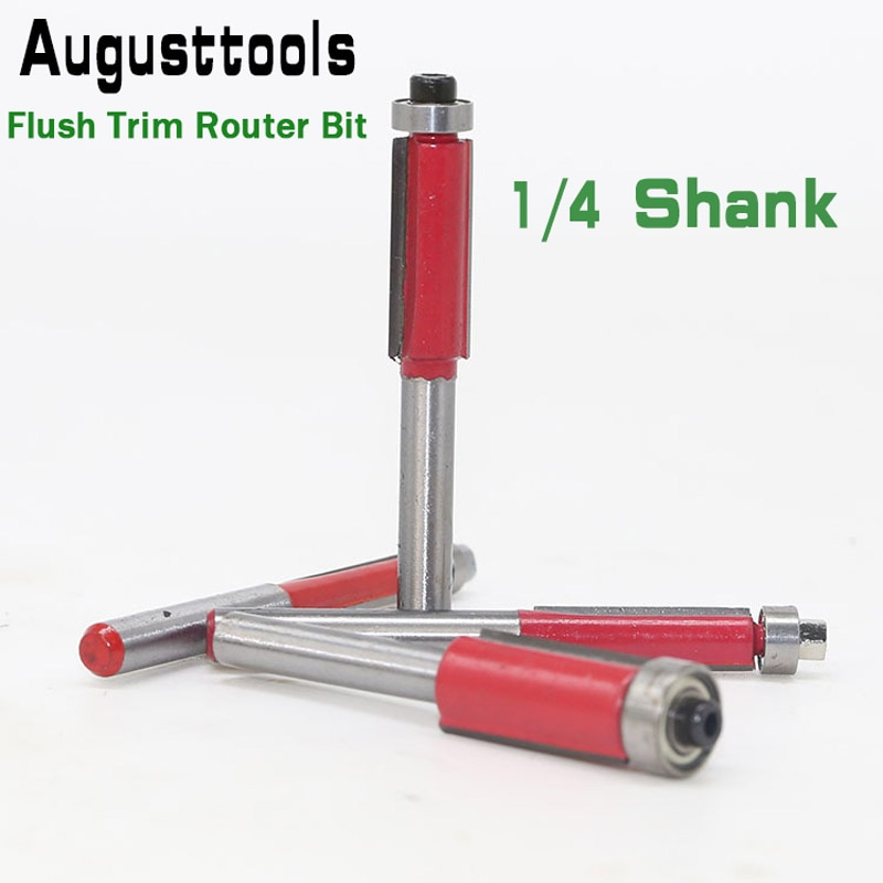 """Augusttools 1 pc 1/4 """"shank flush guarnição roteador bit rolamento final para carpintaria ferramenta de corte carboneto fresa para bocados de madeira"""